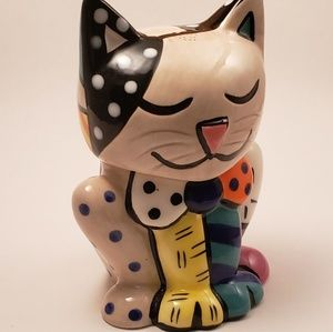 Romero Britto Cat Salt and Pepper Shaker Set NWOT